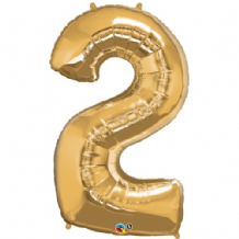 "Gold Number 2 Balloon - Foil Number Balloon 1pc (34"" Qualatex)"